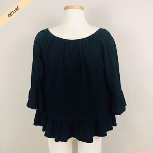 [Sanctuary] Black Boho Peasant Blouse Shirt